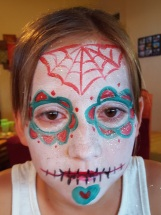red;teal sugar skull