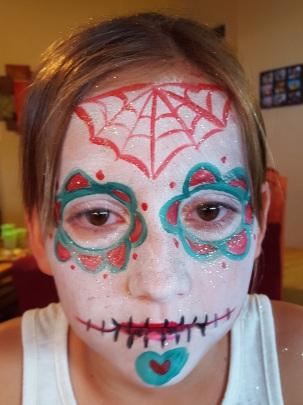 red;teal sugar skull